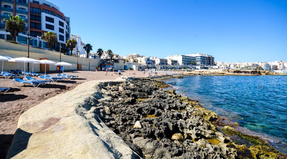 Beaches near Qawra Malta - Bugibba Perched Beach